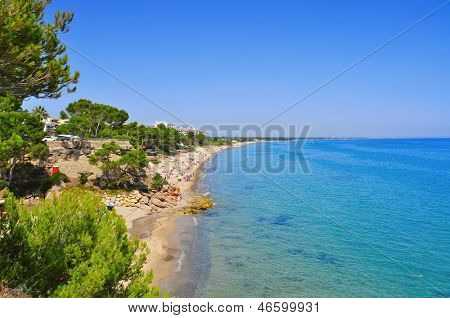 MONT-ROIG, SPAIN - AUGUST 10: Vacationers in Miami Playa beaches on August 10, 2012 in Mont-roig, Spain. It is a coastal resort with holiday apartments and villas and a coastline with tree-lined coves