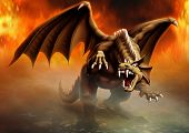terrible dragon has large claws and fangs ready to attack and goes by the fire poster