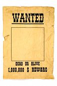 isolated old wanted poster with a blank space for a photo. poster