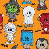 Seamless background - Halloween kids - Witch, Devil, Monster, Mummy, Dracula and Ghost poster