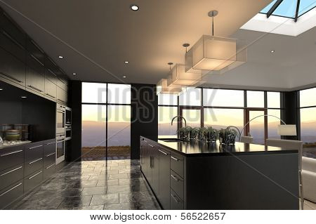 A 3d rendering of Modern Design Luxurious Kitchen Interior