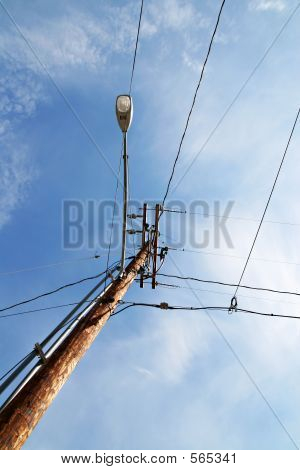 Telephone Poll With Street Lamp