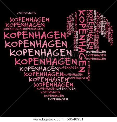 Copenhagen word cloud in pink letters against black background