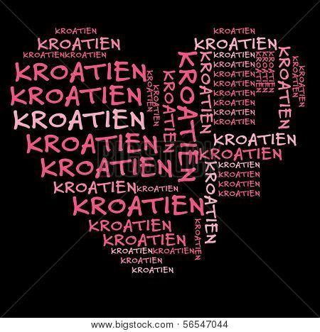 Croatia word cloud in pink letters against black background