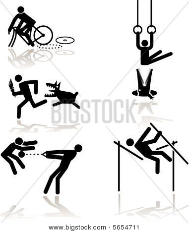 games see through an humor point of view. Set 1 in detail: Cycling, Rings (Gymnastic), Running (Torchbearer), Pole Vault, Hammer Throw poster