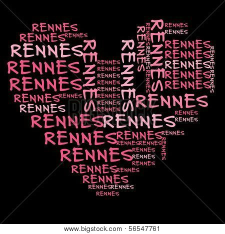 Rennes word cloud in pink letters against black background