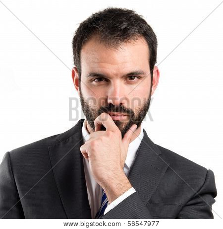 Business Man Thinking Over White Background