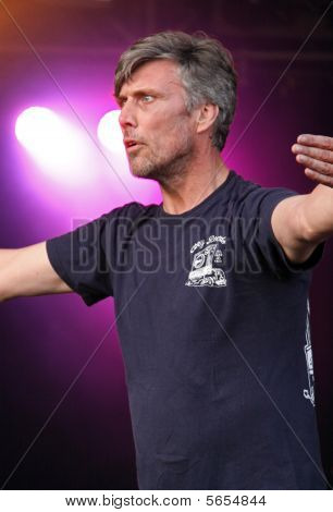 Mark Berry (Bez) of the Happy Mondays Indie band (and winner of Celebrity Big Brother 2005) dancing