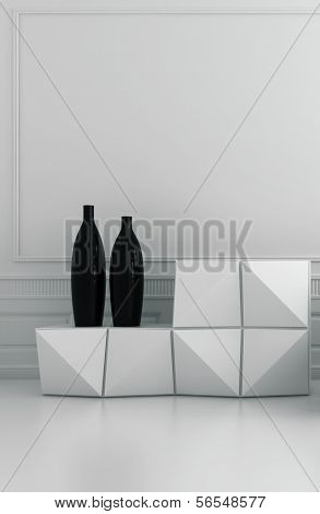 Modern white sideboard with two black vases