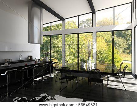 3D rendering of contemporary flat interior.