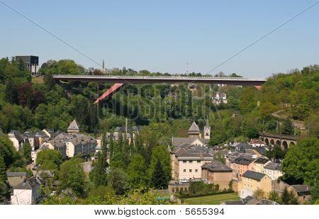 The Grande-duchesse Charlotte Bridge (red Bridge), Luxemburg City, Luxemburg