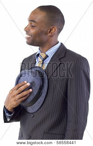 young black businessman being polite by taking hat off poster