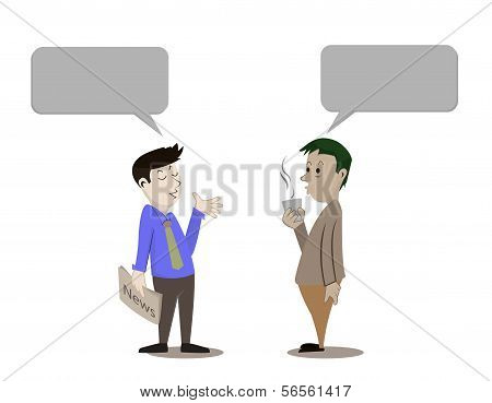 Man Talking The Diry News On White Background