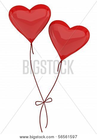 Two Balloons In The Form Of Heart