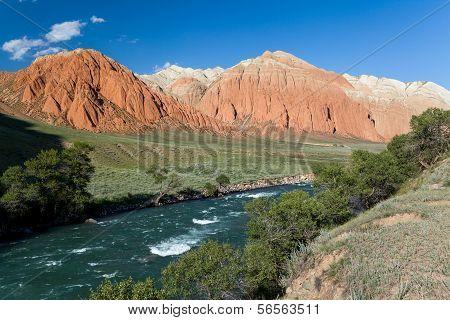 Colourful rocks and Kekemeren river, Kyrgyzstan