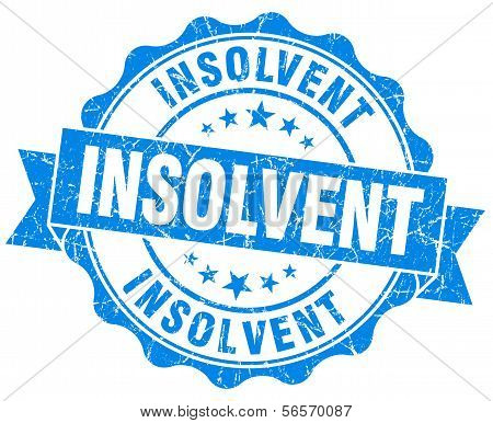 Insolvent Blue Grunge Seal Isolated On White Background