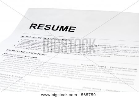 Resume Form On White