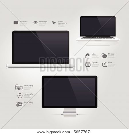 Infographics Design UI Elements: Informatic equipment: Computer, Notebook, Monitor and icons set.
