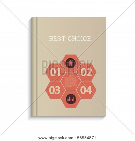 Vector infographic book design on white background. Eps10