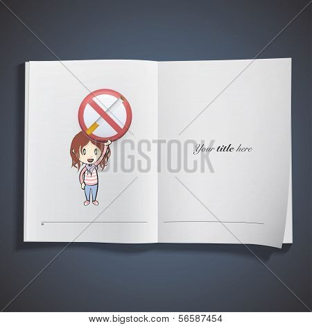 Kid holding prohibited sign with cigar printed on book. Vector illustration. poster