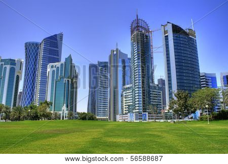 The skyline of the modern and high-rising city of Doha in Katar, Middle East