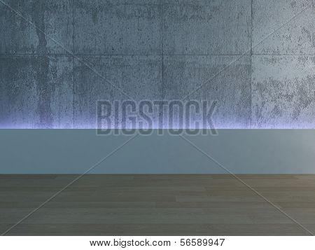 Emtpy room interior with background lighting
