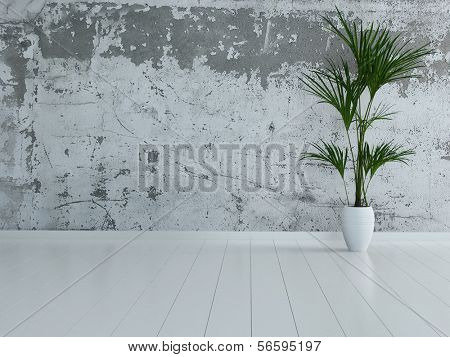 3d rendering of empty room interior with stone wall and houseplant