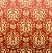 Old red and gold decorative royal seamless floral ornament poster