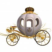 3D digital render of a beautiful Cinderella cariage isolated on white background poster