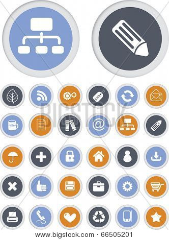 flat internet website icons, buttons set, vector