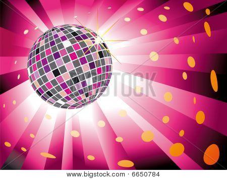 Sparkling disco ball on magenta light burst