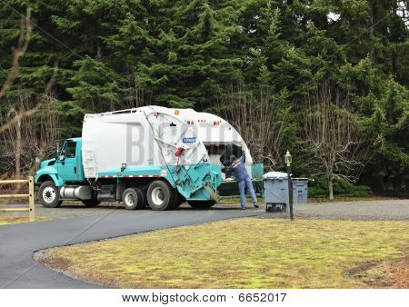 Garbage Truck And Sanitation Worker