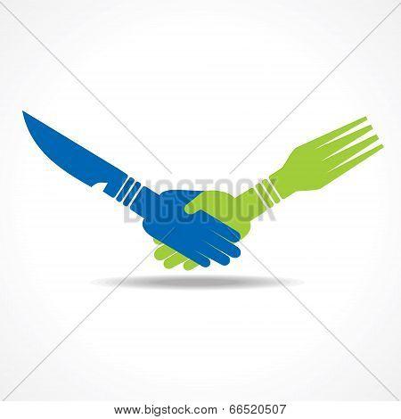 Businessman handshake through restaurant forks stock vector