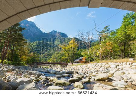 Mountain river view of the  Seoraksan National Park, South korea
