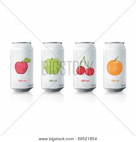 Grey Tin Of Fruit Juice. Vector Design