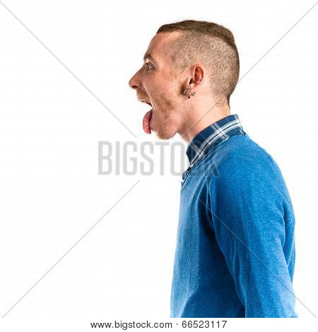 Man Making A Mockery Over Isolated Background