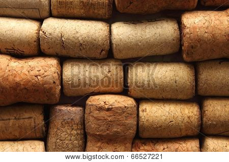 background texture with different wine corks