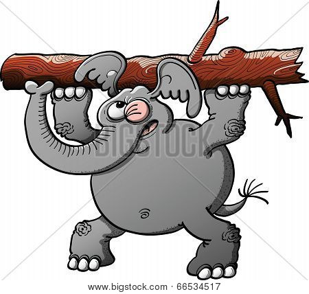 Strong gray elephant making a big effort to lift a tree trunk with its forelegs while winking, keeping balance with its hind legs and showing worried poster