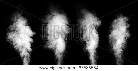 Set Of White Steam On Black Background.