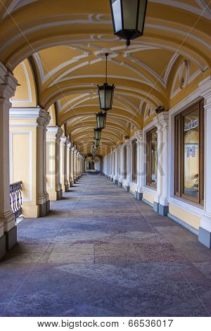 St. Petersburg, Russia. Gallery Gostiny Dvor building arcade poster