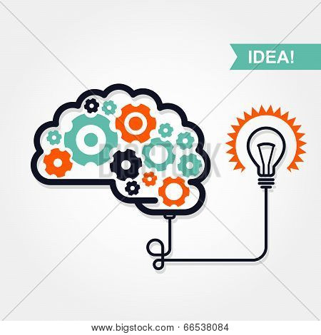 Business idea or invention icon - brain with gear wheel and light bulb poster