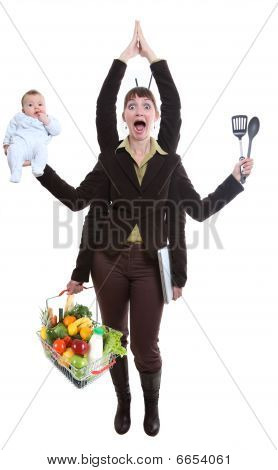 Woman Juggling Fruit