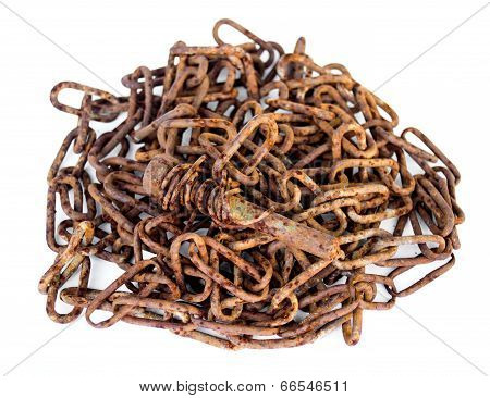 Rusty Screw Lying On A Rusty Chain Isolated