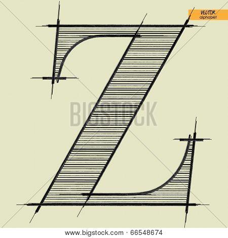 art simple alphabet in vector, classical black handmade font, letter Z