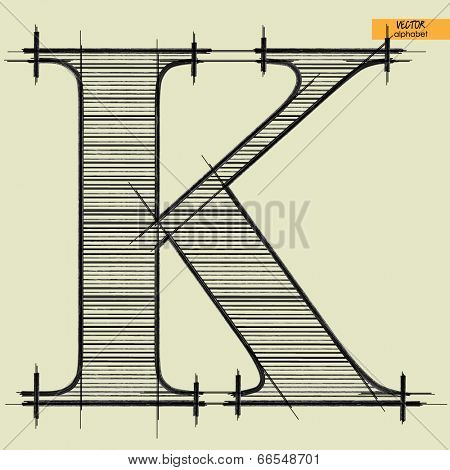 art simple alphabet in vector, classical black handmade font, letter K