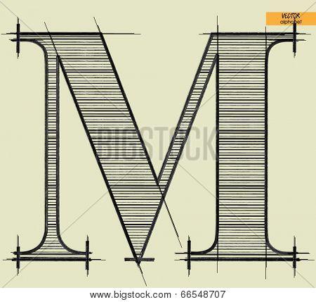 art simple alphabet in vector, classical black handmade font, letter M