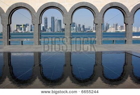 Doha Skyline through the Arches