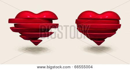 Broken Heart Sliced. Valentines Day Illustration