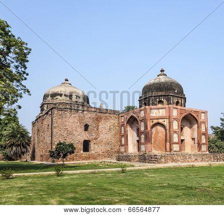 Panorama Of Humayuns Tomb Taken In Delhi - India
