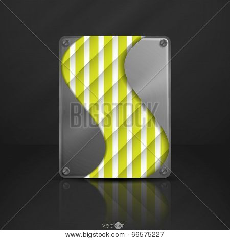 Metal Texture Plate With Screws. Vector Illustration. Eps 10. poster